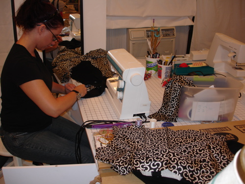 Sara working on Chanel-style suit.