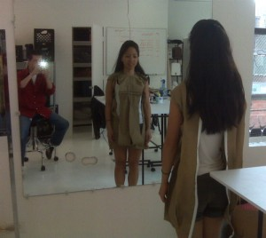 Jen Ma Fits her Uniquely You form at the workrooms.
