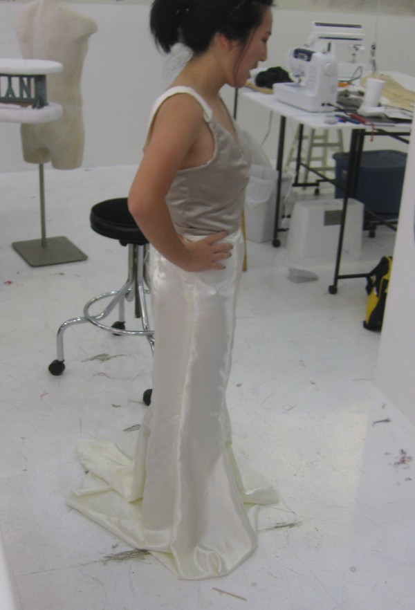 Testing the initial draping of the skirt with the corset and lining.