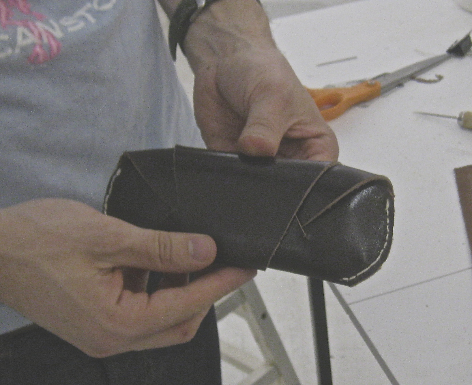 Leather eyeglass case at tchad workrooms in chicago