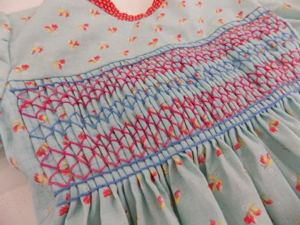Finished smocking on Duree's final dress at tchad workrooms
