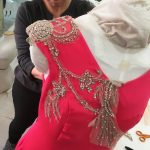 Susan's beaded silk evening gown worked up at Tchad workrooms