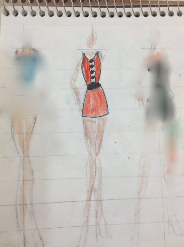 Initial rendering of student's dress.