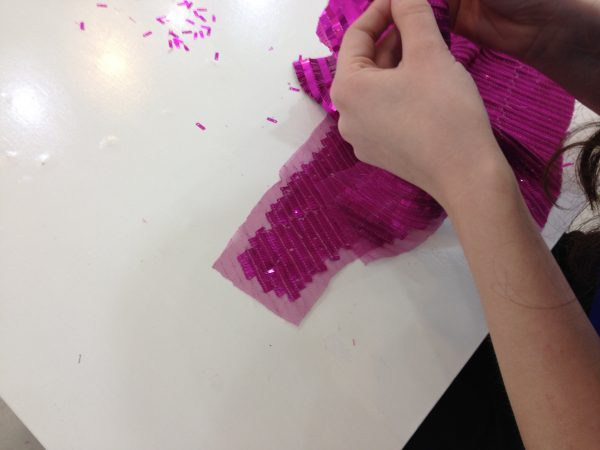 Sewing classes in chicago: tchad: workroom: studio: christen: sequins: paillettes: fuchsia: seam allowances 2