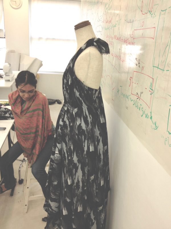 Sana's first draping project at tchad workrooms