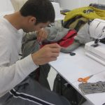 Wally tailors his version of Burda 8275 in the Tchad Workrooms