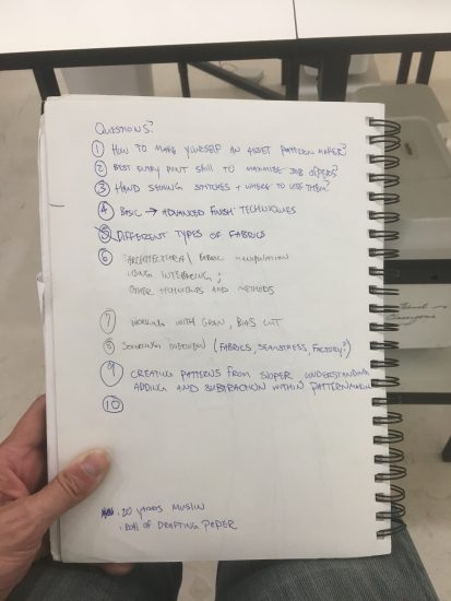 A list of questions that Carson brought to his first day of sewing classes at the Tchad workroom sewing studio in Chicago.