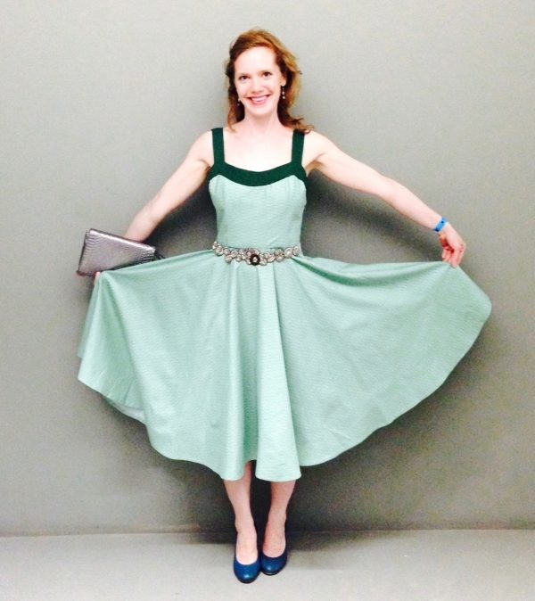 Sewing classes in chicago: tchad: verena: vogue: 2902: green: cotton: circle skirt