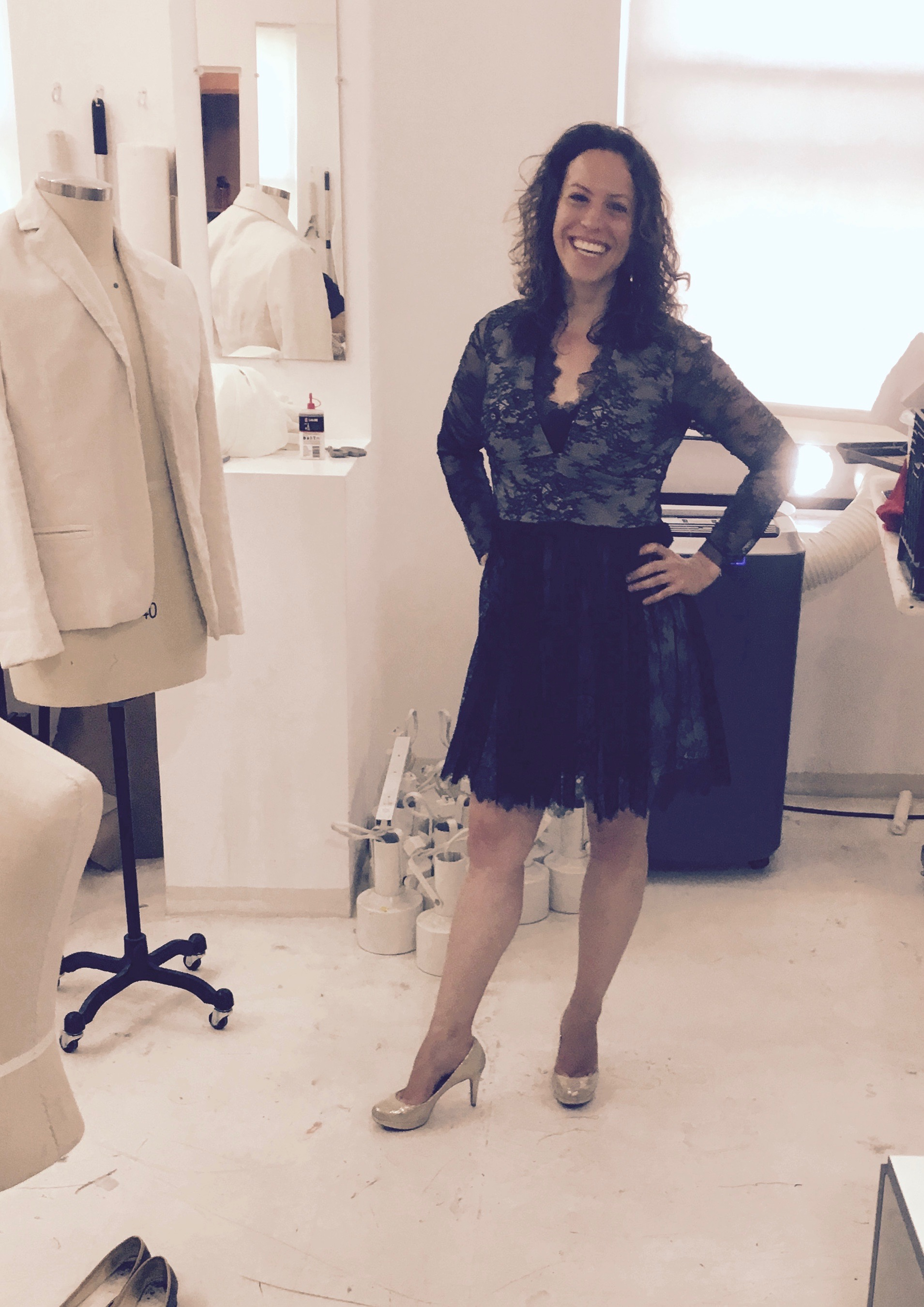 Final test of Netta's underlined lace dress at Tchad workrooms!