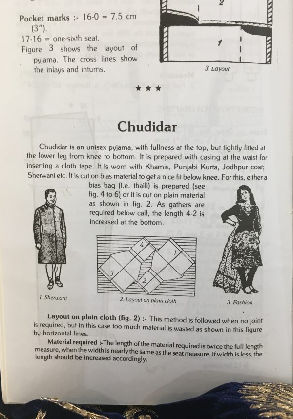 Sewing classes in chicago: tchad: Workroom: books: Zarapkar: System of Cutting: Chudidar