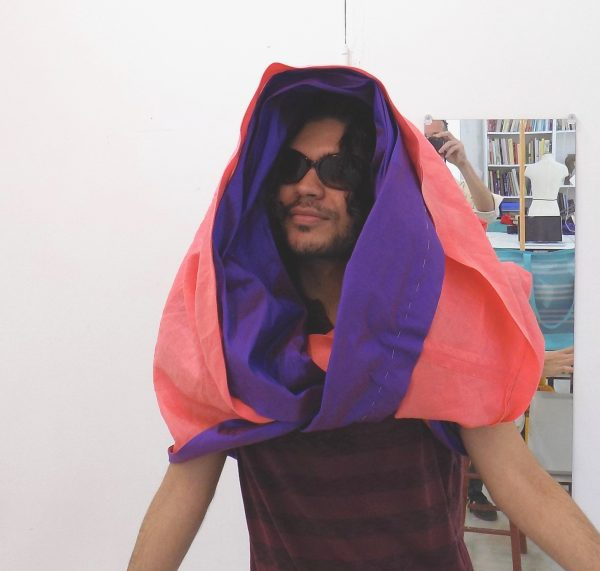 sewing classes: chicago: tchad: nathan: asymmetric vest: linen: silk: hood