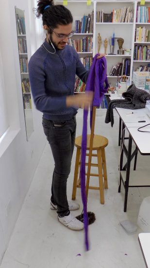 sewing classes in chicago: tchad: thinking outside the box: workroom: turning: nathan: silk
