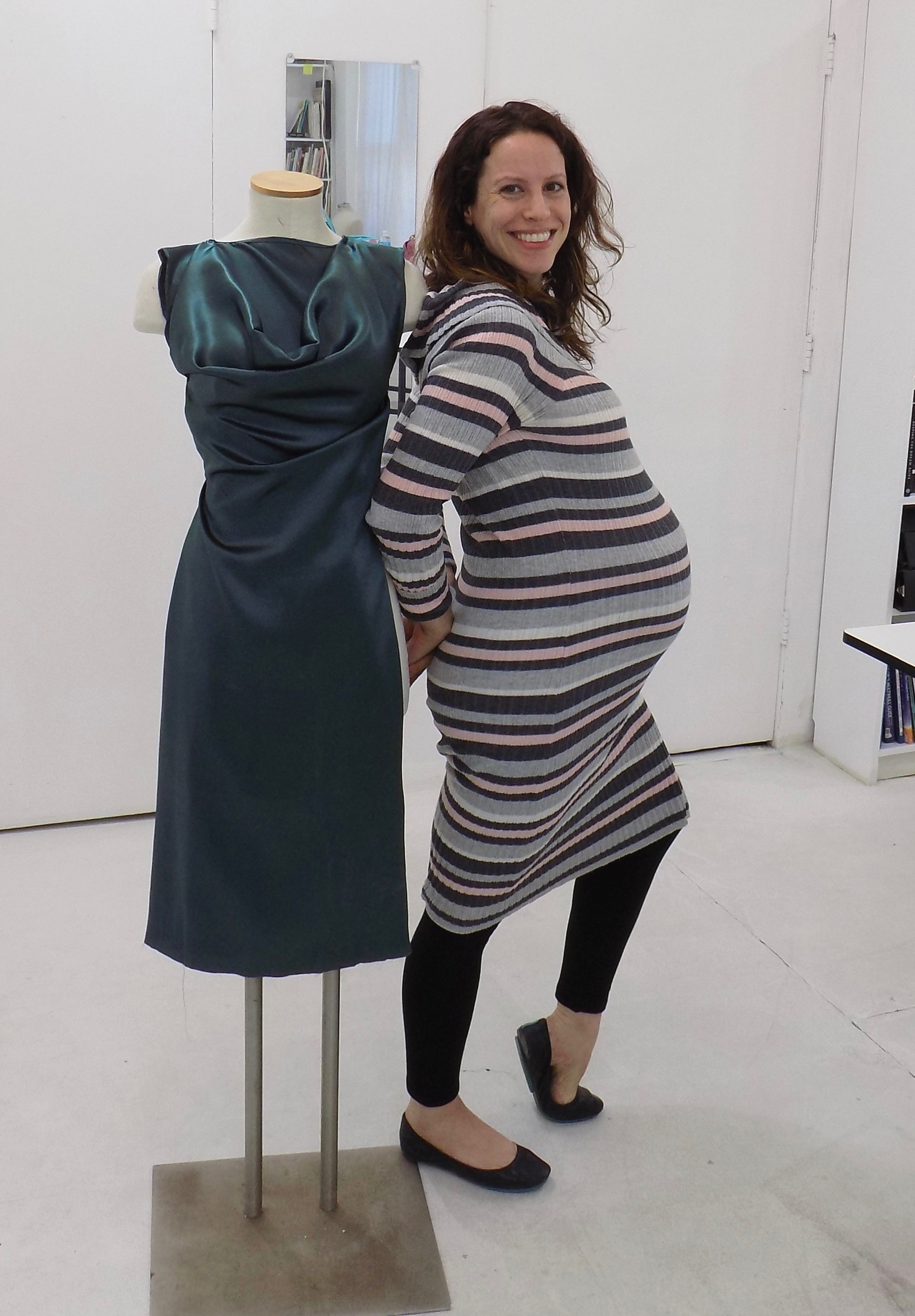 Sewing classes in Chicago: tchad: netta: burda: 7202: silk: teal: hand sewn: pregnant