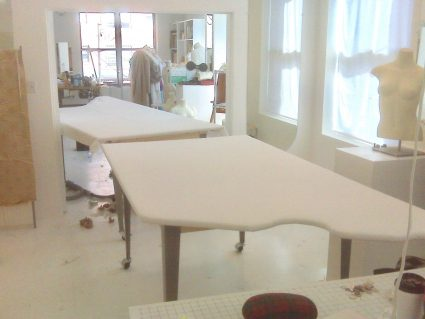 Sewing classes in chicago: Tchad: workroom: Ironing table: finished tables