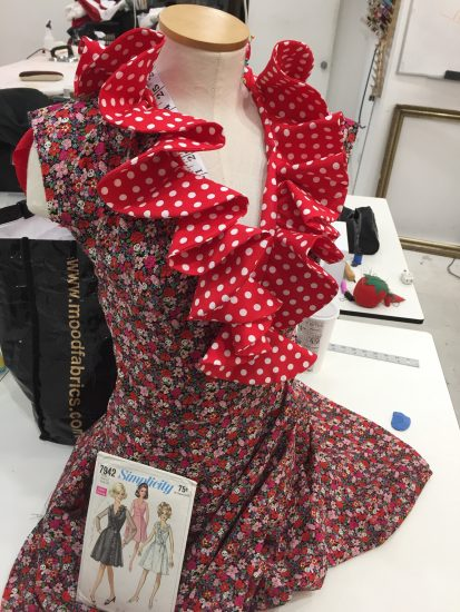 Sewing classes in chicago: tchad: workroom: studio: Simplicity: 7942: erin: tchad: lacroix inspired: japanese fabric: final dress: table