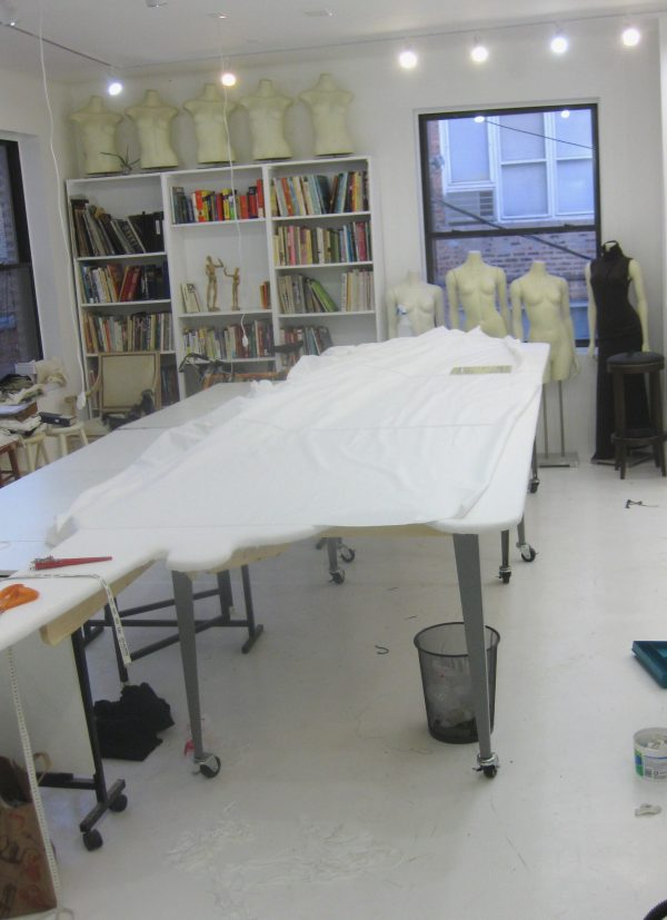 Sewing classes in chicago: Tchad: workroom: Ironing table: finished table in use