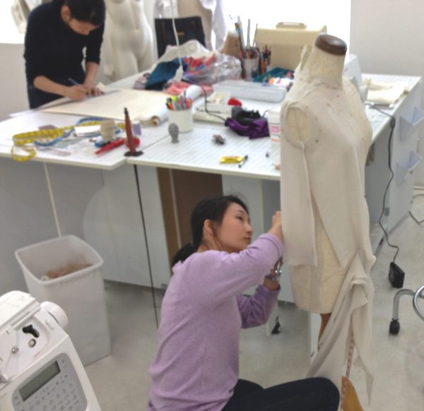 Sewing classes at tchad: workroom: studio: draping: Joy: dressform: sweater