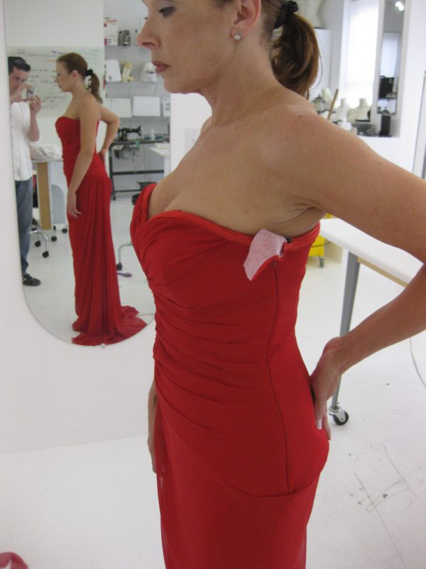 Sewing classes in chicago: Tchad: Debbie's final fitting: corset and facings vogue #2890