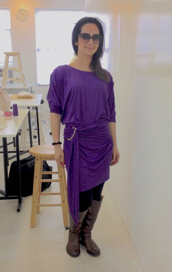 Sewing classes in chicago: tchad: workroom: studio: maddie: Vogue 1337: purple knit: full front