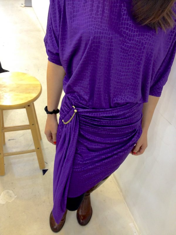 Sewing classes in chicago: tchad: workroom: studio: maddie: Vogue 1337: purple knit: Front