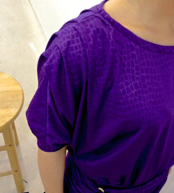Sewing classes in chicago: tchad: workroom: studio: maddie: Vogue 1337: purple knit: shoulder detail