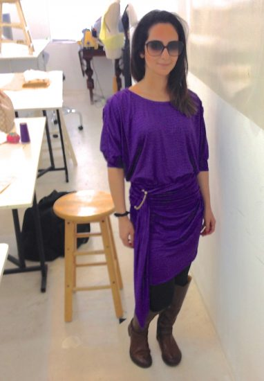 Sewing classes in chicago: tchad: workroom: studio: maddie: Vogue 1337: purple knit: full front 2