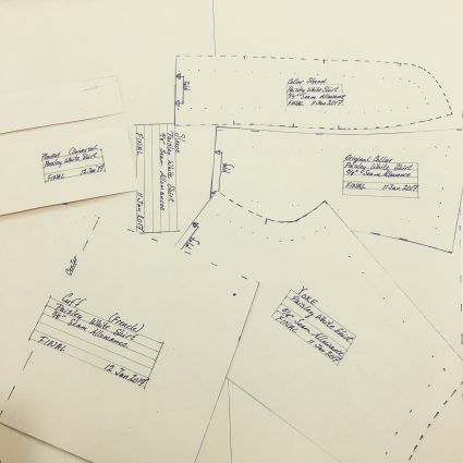 sewing classes in chicago: tchad: drafting: label and date patterns: workroom: project