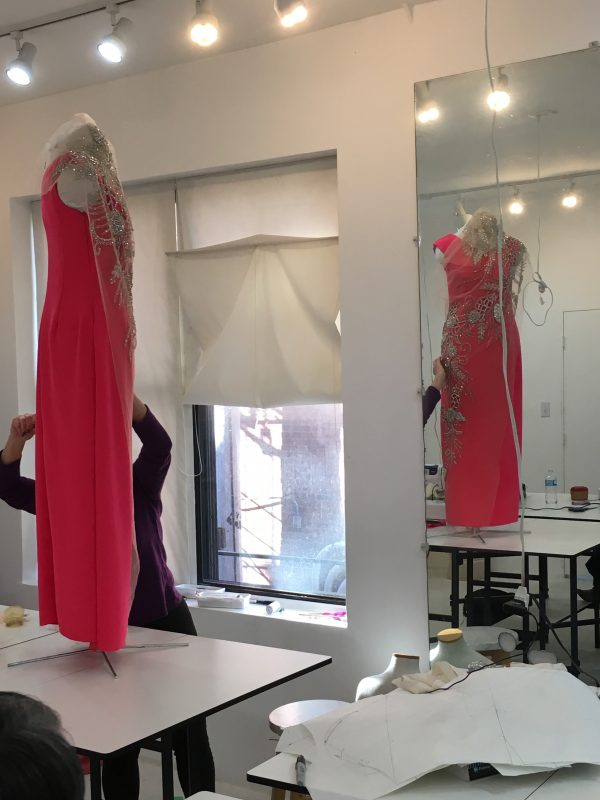Sewing Classes in Chicago: Tchad: Susan Christopher: Pink Silk: Final shaping & preparation
