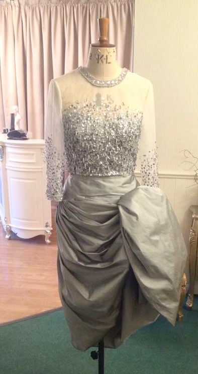 Simon Henry: Sewing Classes: couture: beaded: Finished bodice: silver: Tchad