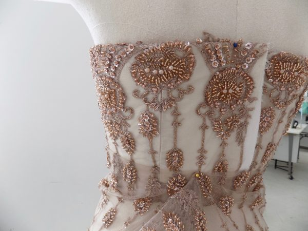 Sewing Classes in Chicago: Beaded: Couture: Compromise: Tchad: Verena: Strapless: Bodice : Left Back