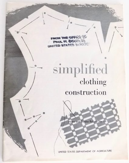 Sewing classes in Chicago: Tchad: DoA: Publication 59: Workrooms: Studio: Sewing: Library: Garment sequence construction: basting: Department of Agriculture: Clothing and Research Division: Simplified Clothing Construction