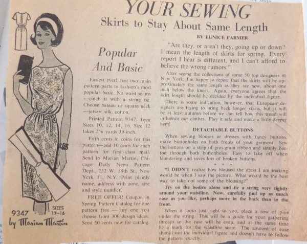 Sewing classes in Chicago: Tchad: DoA: Publication 59: Workrooms: Studio: Sewing: Library: Garment sequence construction: basting: Eunice Farmer: News column clipping