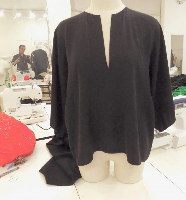 Peggy's second project adapted from a Helmut Lang black kimono cut blouse at the Tchad workroom sewing studio in Chicago