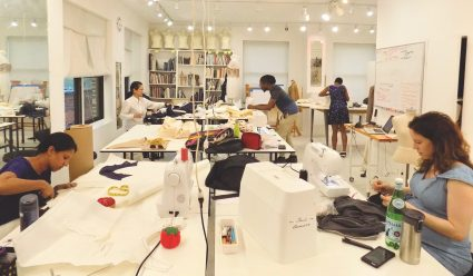 Sewing classes in Chicago underway at Tchad workroom sewing studio on Sheridan & Montrose in Uptown