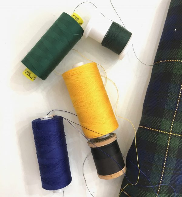 Sewing classes in Chicago: Tchad: Workroom: Studio: threads prepared for spinning