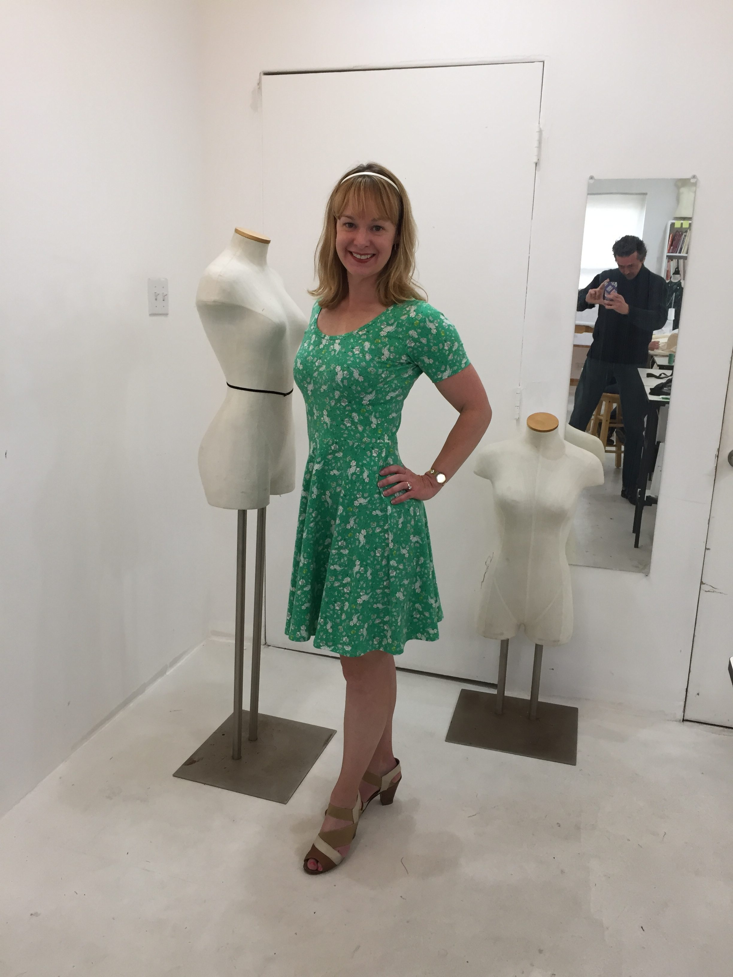 Erin models her latest dress: The Frances Dress by Victory Patterns in the Tchad sewing studio workrooms in Chicago