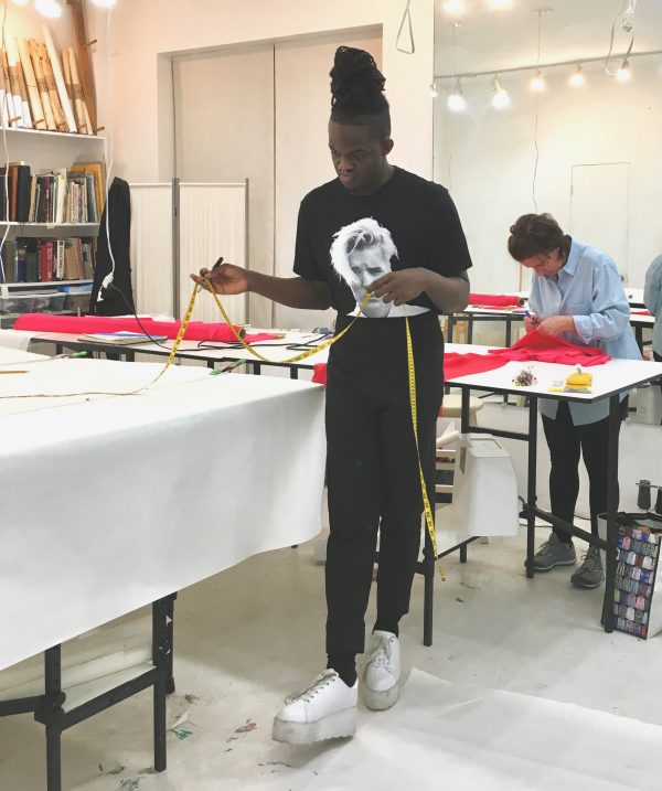 Sewing classes in Chicago: Jiorg Dail: George Mosley: Tchad: Elliott: Kenwood Fashion Show: Jiorg in workroom studio