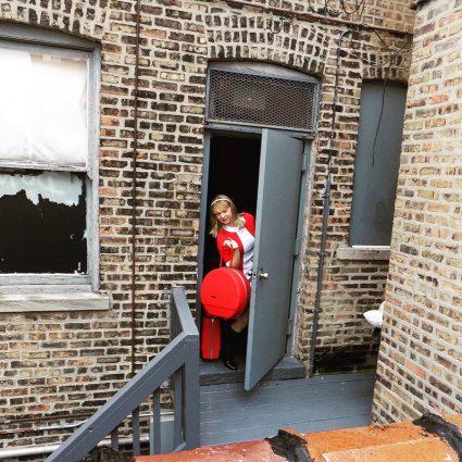 Sewing classes in Chicago: Tchad: Workroom: Sewing studio: narrative: Elise Cross: back door sneak