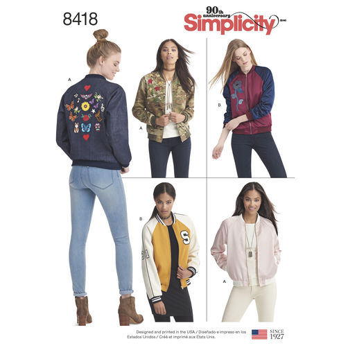 Simplicity pattern #8418, front: Shows 5 different views of garment