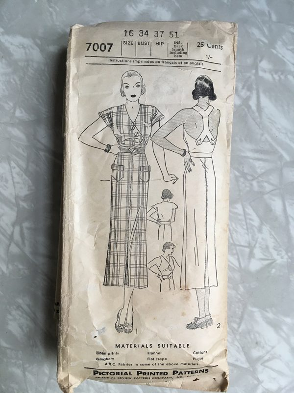 Pictorial printed pattern #7007 used by Linda Prieto at Tchad sewing studio Chicgao workrooms.