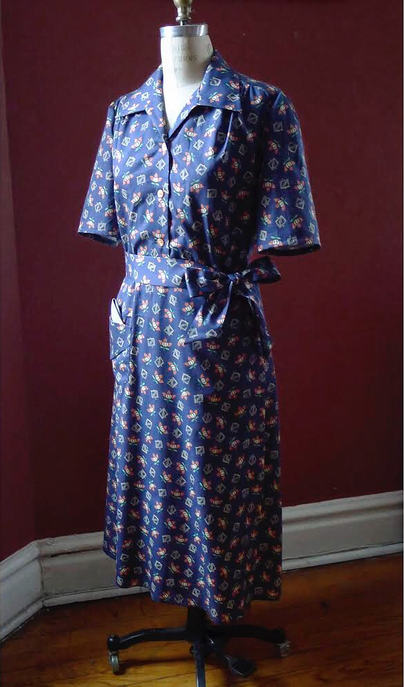 Linda prieto of telalinda uses vintage fabric to reconstruct this blue printed housedress at the Tchad sewing studio workrooms in Chicago