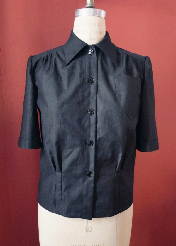 Linda Prieto's vintage black blouse made of headstock fabric using vintage patterns. Tchad sewing class chicago sewing studio Chicago workroom