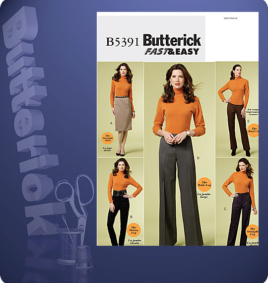 Butterick #5391 envelope front with five featured views - four pants shapes and one straight skirt.