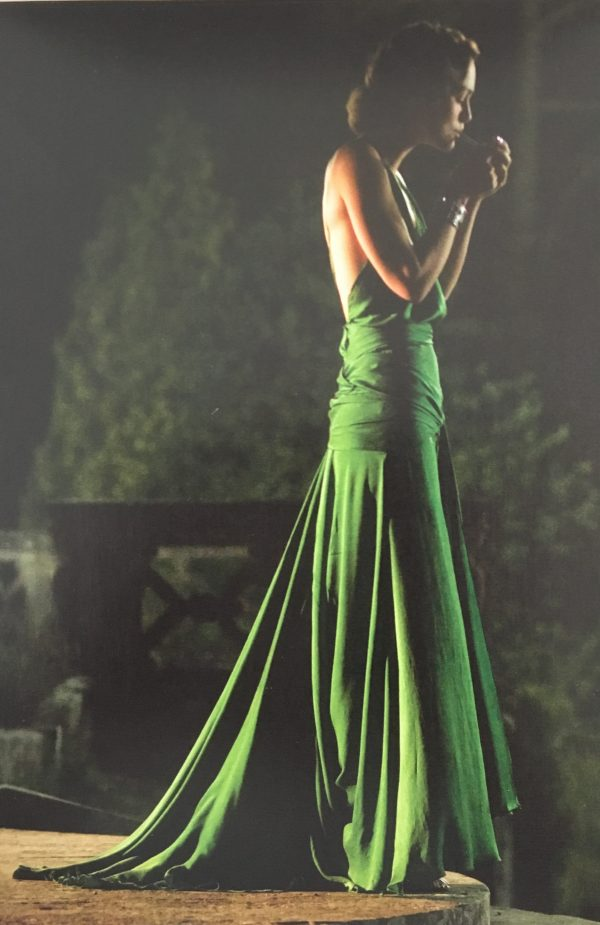 Original version of Kiera Knightley's green silk dress in Atonement as featured in Liz Gregory's Sew Iconic at the Tchad Chicago sewing studio workroom library
