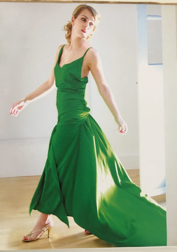 Reinterpreted version of Kiera Knightley's green silk dress in Atonement as featured in Liz Gregory's Sew Iconic at the Tchad Chicago sewing studio workroom library