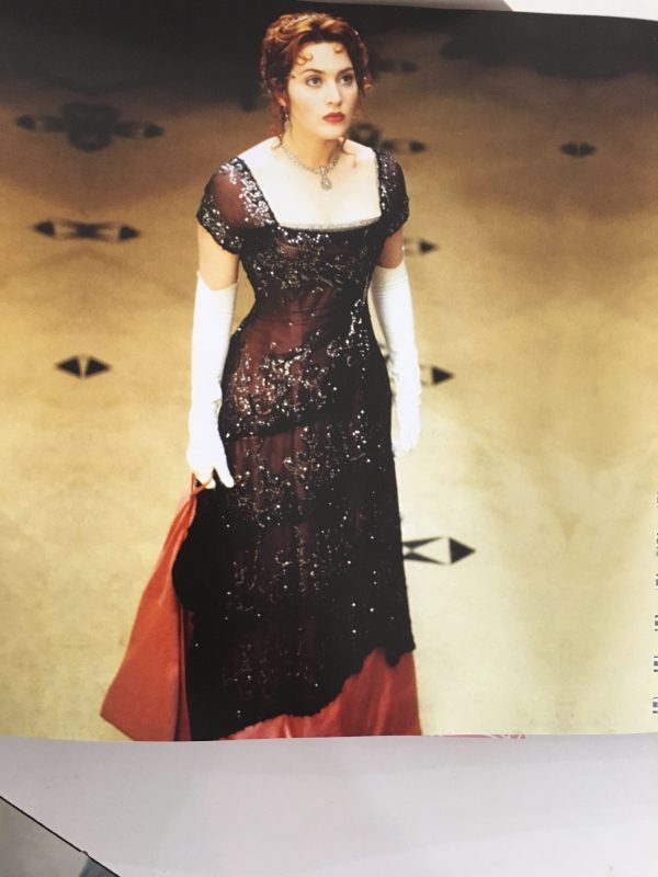 Image of original Titanic Dinner scene dress worn by Kate winslet as featured in Sew Iconic by Liz Gregory at the Tchad Chicago sewing studio workroom library