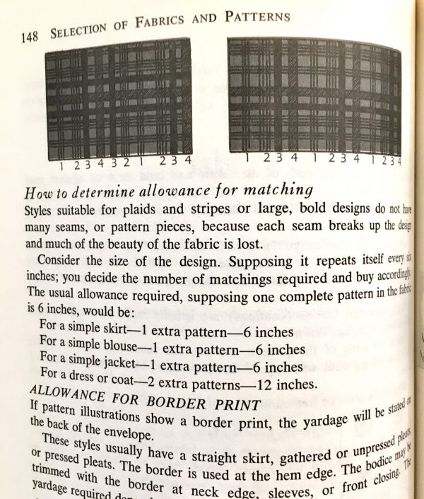 Page on plaid purchasing from Violet Wilson's Sewing Without Tears from the Tchad workroom sewing Studio library in Chicago