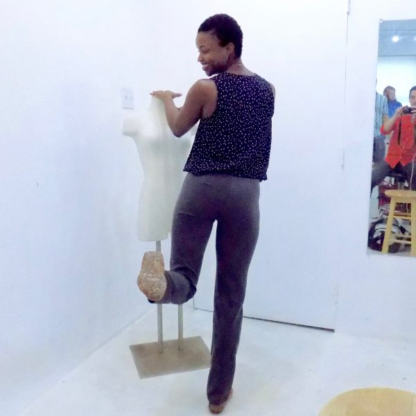 Omoleye models the Sasha Pant by Closet Case Patterns that she made during open sewing studio time at the tchad workrooms in Chicago