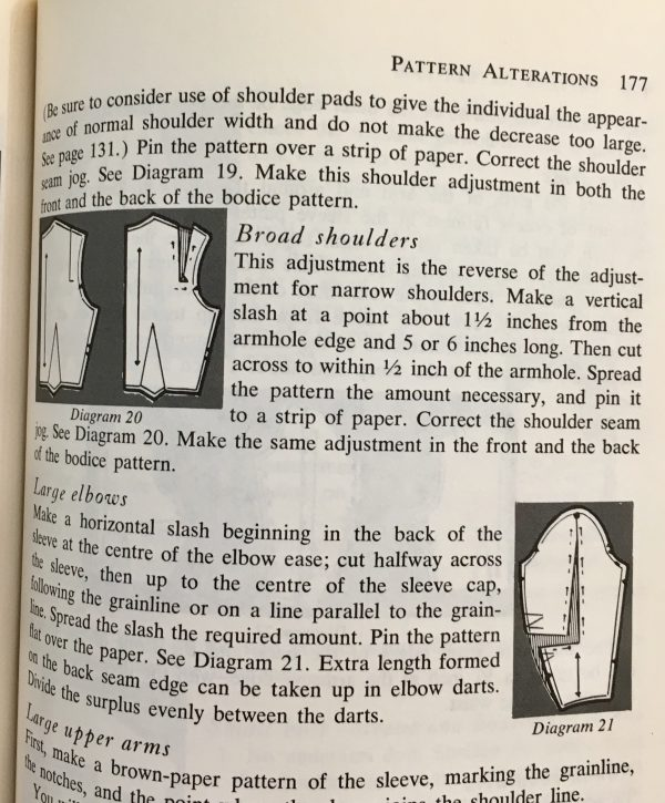 Page from Violet Wilson's Sewing Without Tears on fitting and altering patterns from the tchad workroom sewing studio library in Chicago