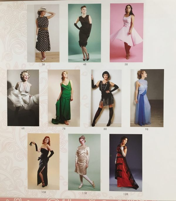 Image of ten famous dresses adapted by Liz Gregory in Sew Iconic at the Tchad Chicago Sewing class studio workroom library.